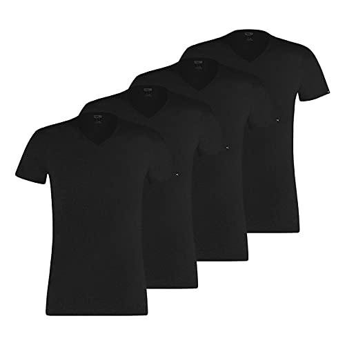 PUMA Camisetas básicas para hombre con cuello en V, 100000890, 4 unidades Negro XL