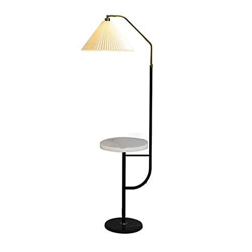 Luz portatil Lámpara de pie de metal de 158 cm con tela plegable Pantalla de tela y mesa de almacenamiento de mármol, compatible con carga USB, lámpara de pie de lectura moderna para sala de estar