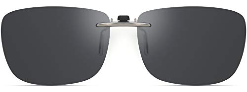 CAXMAN Polarized Clip On Sunglasses Over Prescription Glasses for Men Women Compact Fit Grey Lens Large Size UV Protection