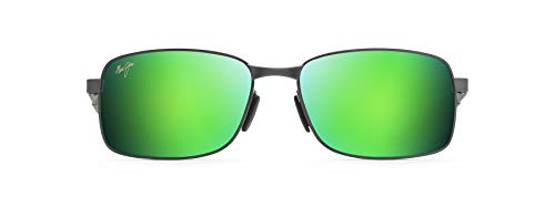Maui Jim Men's's Shoal w/ Patented PolarizedPlus2 Lenses Polarized Rectangular Sunglasses, Brushed Gunmetal/Green Mirror Polarized, Medium