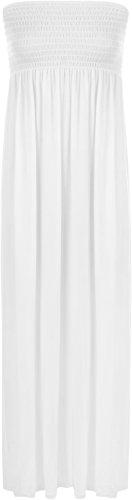 WearAll - Damen einfachen Shirred Bandeau trägerloses mit rüschen besetztes langes Maxi Kleid - Weiß - 36-38