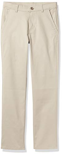 Nautica Boys' Big Flat Front Stretch Twill Chino Khaki Pant, 12