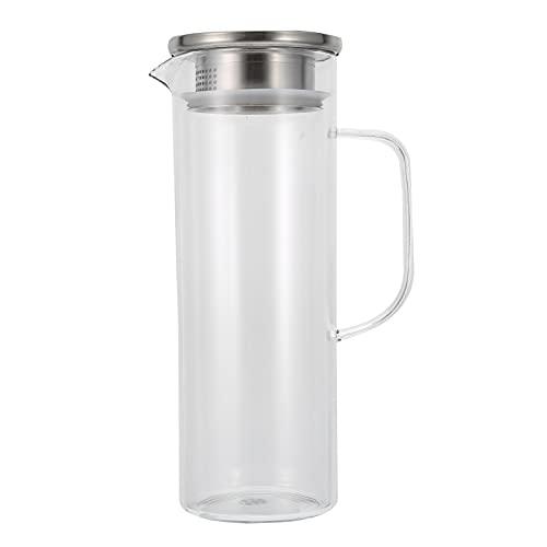 Jarra de Agua, Botella de Agua Fría de 1 l Jarra de Té Helado Hervidor de Bebidas Frías de Verano con Mango Ergonómico de Una Pieza y Boca a Prueba de Salpicaduras en Forma de V(L)