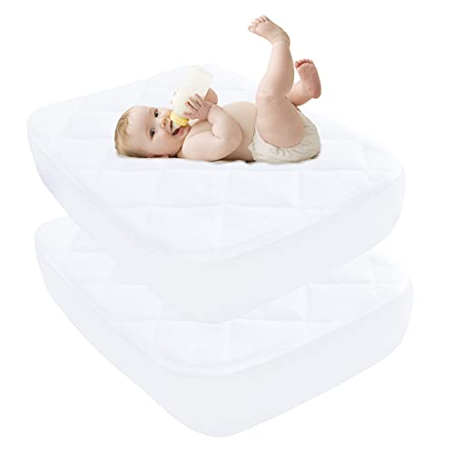 """Ruili 2 Pack Waterproof Crib Mattress Pad, 28""""x 52"""" Quilted Fitted Stretches Up to 11"""" Soft Breathable Bamboo Fiber Toddler Mattress Protector Cover"""