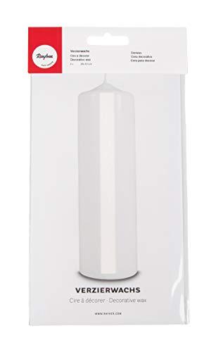 Rayher 3103702 Verzierwachs, weiß, 2 Verzierwachsplatten 20 x 10 cm, Wachsfolie zum Kerzen verzieren, Kerzenwachs, Wachsfolie