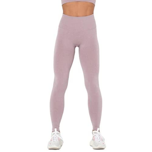 QTJY Pantalones Acanalados de la Yoga de los Deportes de Las Mujeres, Polainas de la Cadera de la Cintura Alta de la Aptitud sin Costuras, Medias Corrientes HS del Gimnasio
