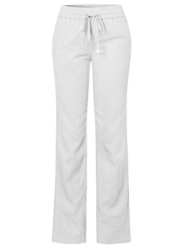 Design by Olivia Women's Comfy Drawstring Elastic Waist Linen Pants with Pocket White L