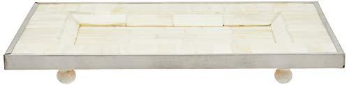 Better & Best Plateau Rectangulaire avec Filet argenté, os, Bois, métal, Blanc, 30 x 20,5 x 4,5 cm