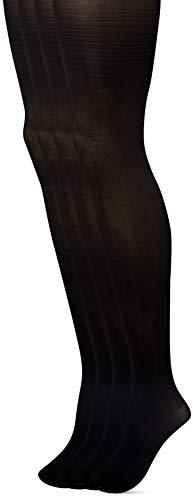 Dim, Collants Style Opaque Velouté, Lot de 4 - Femme Noir (Noir/Noir), Small (Taille fabricant:1/2)