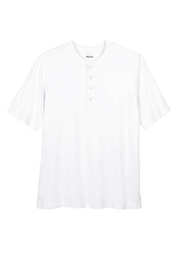 KingSize Men's Big & Tall Shrink-Less Lightweight Henley T-Shirt - Tall - 3XL, White Henley Shirt