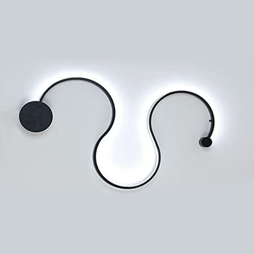 LED Lámpara de Pared, Lámpara de Pared Moderna Para Interior Para, Baño Salón Dormitorio Escalera Pasillo Iluminación de Pared 75x35cm (Negro C, luz blanca)