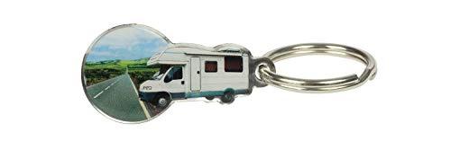 happyROSS Einkaufswagenlöser Camper | Schlüsselanhänger mit abziehbarem Einkaufswagenchip | Einkaufschip für Einkaufswagen aus Edelstahl | Campingplatz, Wohnmobil, Freizeit, Reise