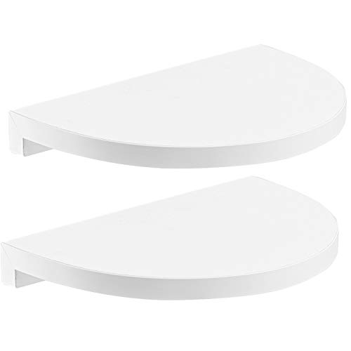 """Halter's Rounded Floating Wall Shelves for Decorative Display - Easy Installation + Hardware & Screws Included. 2 Pack (9''x 6.5"""")"""