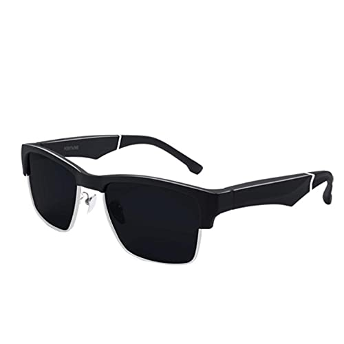 ZWRY Lunette Bluetooth Lunettes de soleil Bluetooth 5.0 Lunettes de soleil intelligentes pour l'extérieur Casque de sport sans fil avec microphone Lunettes de soleil anti-bleues noires