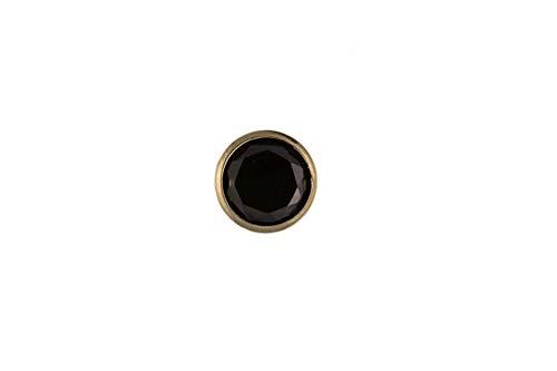 Pendientes redondos de oro de 9 quilates para hombre con circonita cúbica negra de 5 mm