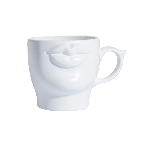 Copa De Vino Taza De Café Tazapersonalized 3D Mouth Ceramic Coffee Mug White Handmade Porcelain Tea Milk Cup Drinkware Specia