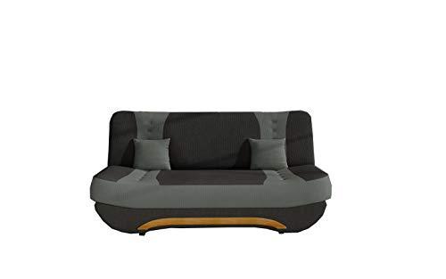 E-MEUBLES Canapé en lit Convertible avec Coffre 3 Places de Rangement Relax - clic clac, Banquette - en Tissu FEBA (Noir + Gris (Alova 04+Alova 10))