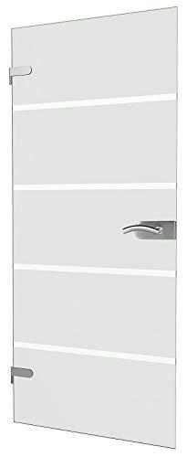 inova Glas-Drehtür polierte Kante 834x1972x8mm Blockstreifen satiniert Glas DIN Links Beschlag DB05 Komplettset Glastür