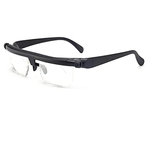 Adjustable Focus Glasses Dial Vision Traditional Black Frame Dial Adjustable Glasses Variable Focus for Women and Men - -6D to +3D Variable Lens