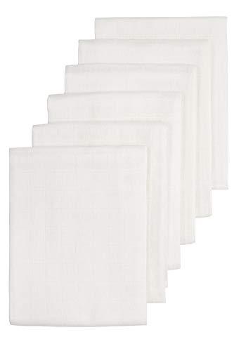 Meyco 452100 - Pañales de tela (6 unidades, 70 x 70 cm, 100% algodón), color blanco
