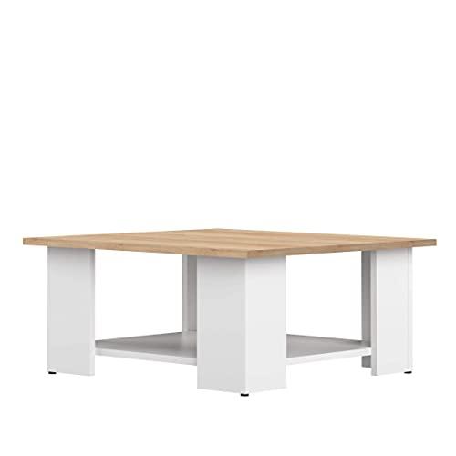 TemaHome Table Base Square, Panneaux de Particules Mélaminés, Blanc et Chêne, 67 x 67 x 30,5 cm