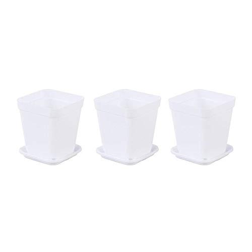 hengxiang Plantas 6pcs Macetas Macetas Macetas Maceta de plástico Creativo Macetas for suculentas (Cada 3 de Pequeño Claro, Azul Claro Fondo de la Bandeja) (Color : Blanco, Sheet Size : 6pcs)