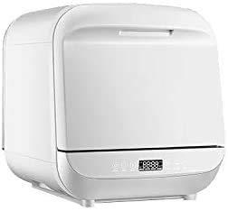 Compacta lavavajillas encimera, interiores de acero inoxidable y diferentes programas de lavado Tres cuadrado para la oficina en casa y la cocina casera, blanca, 220 V