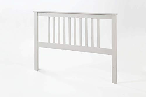 pequeño y compacto Cabecero de pino macizo con liguero, para estructura de cama 135, blanco translúcido 100x147x2…