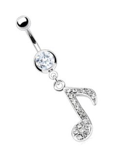 Body Accentz® Belly Button Ring 316L Surgical Steel Multi Gem Paved Music Note Navel Ring Body Jewelry 14g 3/8""