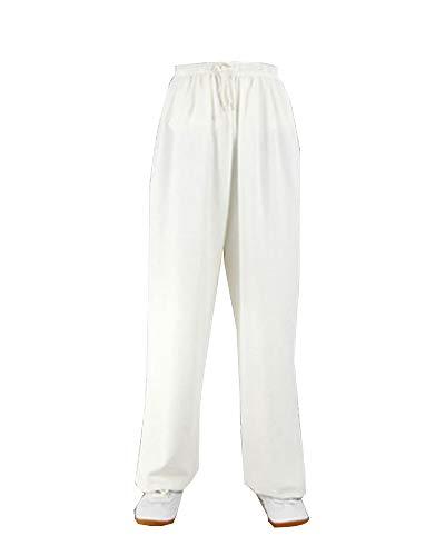 Kampfsporthose Tai Chi Hosen Traditionelle Trainingshosen Taiji Kung Fu Wing Chun Shaolin Klassische Kleidung Unisex Weiß XL
