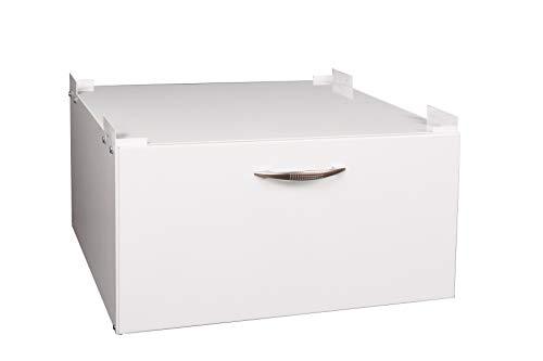 Waschmaschinen - Untergestell BxTxH: 60x50x30cm, 150 kg weiß, mit Schublade, Marke: Szagato, Made in Germany (Sockel Podest Erhöhung für Waschmaschine + Trockner Kühlschrank)