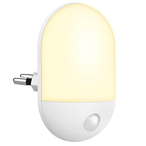 Luz Nocturna Infantil, Luz Nocturna LED Automático Plug-and-Play con Sensor Crepuscular, Luz Nocturna para Niños Blanca Cálida para Habitaciones de Niños, Salas de estar, Baños, Pasillos, Dormitorios