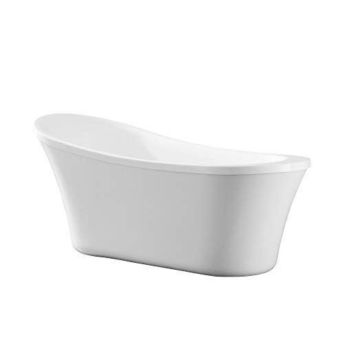 Ove Decors Ruby 65 in. Freestanding Bathtub in Contemporary Glossy White with Chrome Pop Up...
