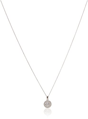 """Platinum Plated Sterling Silver Halo Pendant Necklace set with Round Cut Swarovski Zirconia, 16"""""""