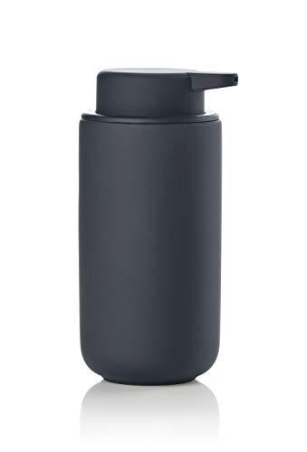 Zone Denmark Ume Seifenspender/Seifenpumpe aus Steingut mit Soft Touch-Beschichtung, extra großes Fassungsvermögen (450 ml), schwarz