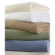 """Ralph Lauren Classic Premium Cotton Blanket 90"""" x 90"""", Ivory, Full/Queen"""