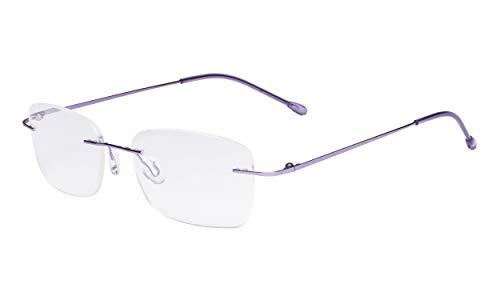 Eyekepper Damen Rahmenlose Brillen - Leichtgewichts- Randlose Brillen Damen Lila +1.75