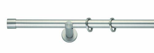 Gardinenstange CAP [Komplettgarnitur] zur Wandmontage, Länge: 200cm, Ø 20mm, Farbe: Edelstahl Optik - mydeco