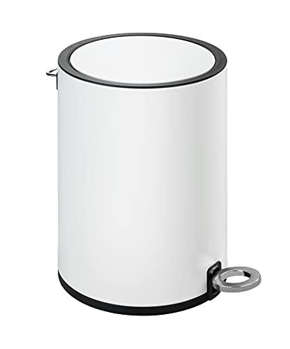 WENKO Kosmetik Treteimer Monza Easy Close Weiß - Kosmetikeimer, Mülleimer mit Absenkautomatik Fassungsvermögen: 3 l, Stahl, 18.5 x 25.5 x 24.5 cm, Weiß