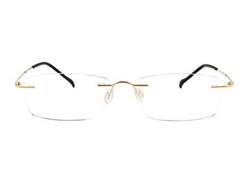 Agstum Pure Titanium Rimless Frame Hinged Optical Eyeglasses Frames (Gold, Non-Prescription Clear Lens / 55)