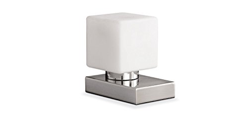 Nachttischlampe Tischleuchte Tischlampe   Nickel   Glas   Weiß   Touchfunktion   Dimmbar