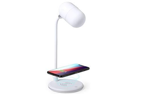 MKTOSASA - Lámpara multifunción todo en uno en acabado blanco, con altavoz Bluetooth® 4.2 de 3W de potencia y cargador inalámbrico integrados - 12x32x12 Blanco