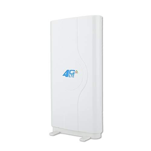 PUSOKEI Antena de Placa de Alta Ganancia 4G LTE 88DBi para Interiores ultrarrápida, con Cable de 2 Metros, Velocidad del Viento de 60 m/s, 800 MHz a 2600 MHz, Blanco(SMA)