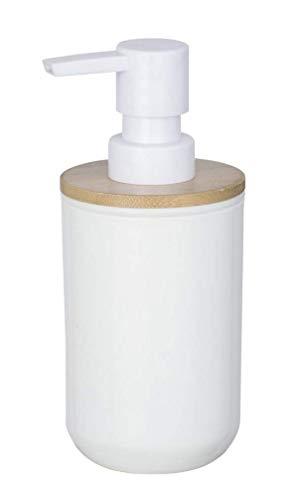 WENKO Seifenspender Posa Weiß - Flüssigseifen-Spender, Spülmittel-Spender Fassungsvermögen: 0.33 l, Kunststoff, 7 x 16.5 x 8 cm, Weiß