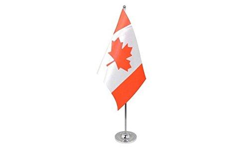 AZ FLAG Bandera de Mesa CANADÁ 22x15cm en Raso - BANDEROLA de DESPACHO Canadiense 15 x 22 cm