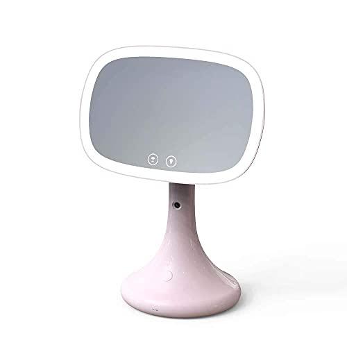 CMMT Lámpara de Mesa Espejo de maquillaje iluminado, lámpara de escritorio LED, espejo, humidificación en aerosol para el hogar, medidor de agua, espejo de maquillaje de escritorio, fuente de alimenta