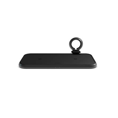 ZENS 4in1 Cargador inalámbrico Doble de Aluminio con Brecha para el Cable de Carga del Apple Watch (Carga rápida de Apple y Samsung, Puerto USB Adicional, Incluye Enchufe de alimentación de 45W PD)
