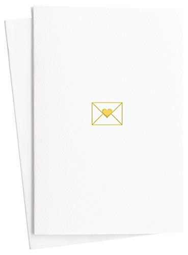 Tarjetas de felicitación para bodas (2 unidades), compromiso, aniversario con carta de amor en oro en papel bonito, tarjeta de boda original y regalo, E15