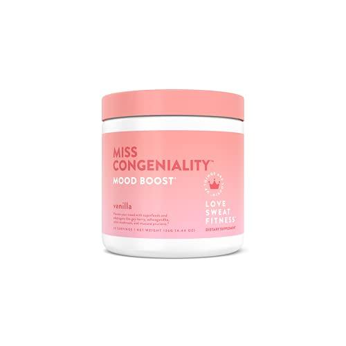 Love Sweat Fitness - Miss Congeniality - Mood Boost - Vanilla - 28 Servings, Improves Focus, Elevates Mood, Lower Stress, Fights Fatigue - Vegan, Gluten Free, Non-GMO