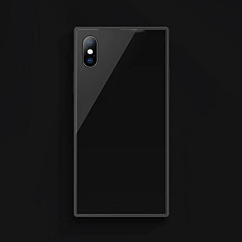 KESHOUJI Estuche a Prueba de explosiones de Vidrio Templado Cuadrado de Moda para iPhone 11 Pro XS MAX XR X 8 7 6 6S Plus Cubierta de teléfono de Vidrio de protección Completa, Negro, para iPhone 11